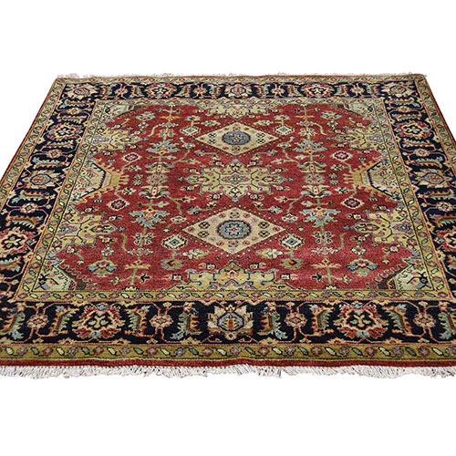 Hand-Knotted Red Karajeh Design Pure Wool Square Oriental