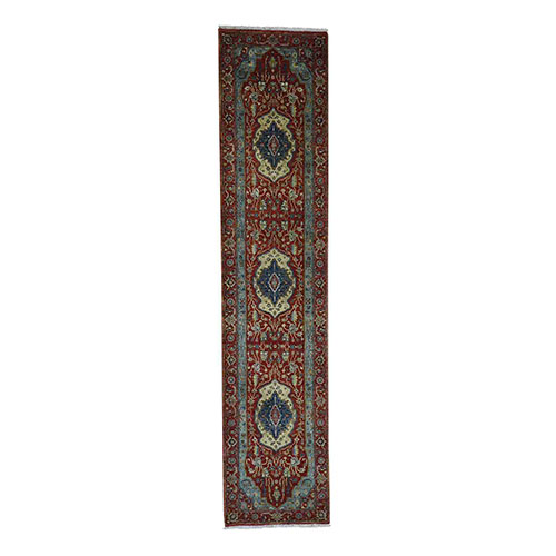 Antiqued Heriz Re-creation 100 Percent Wool Hand-Knotted Runner Oriental Rug
