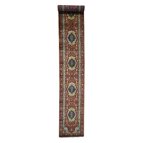 Antiqued Heriz Re-Creation Pure Wool XL Runner Hand-Knotted Oriental
