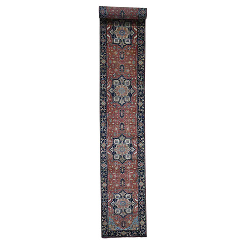XL Runner Antiqued Heriz Re-creation Hand-Knotted Oriental