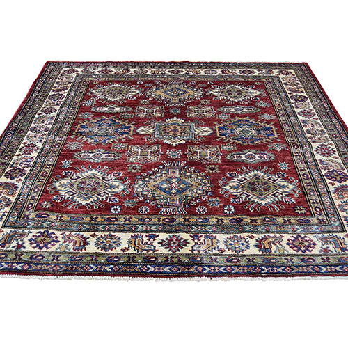 Red Square Super Kazak Geometric Design Pure Wool Hand-Knotted