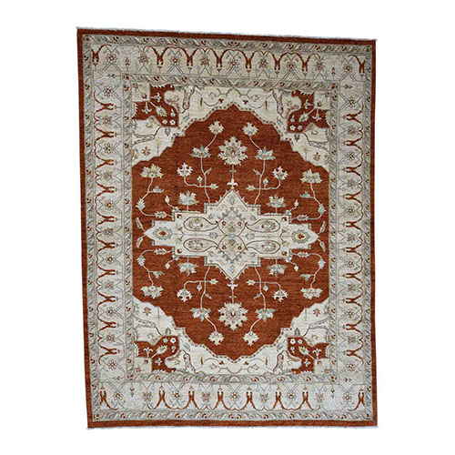 Peshawar With Heriz Design Pure Wool Hand-Knotted Oriental