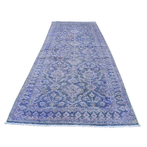 Overdyed Peshawar Wide Runner Hand-Knotted Oriental