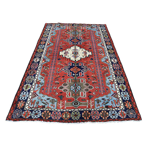 New Persian Hamadan Hand-Knotted Pure Wool Oriental