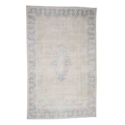 Hand-Knotted Pure Wool Vintage Kerman White Wash Oriental