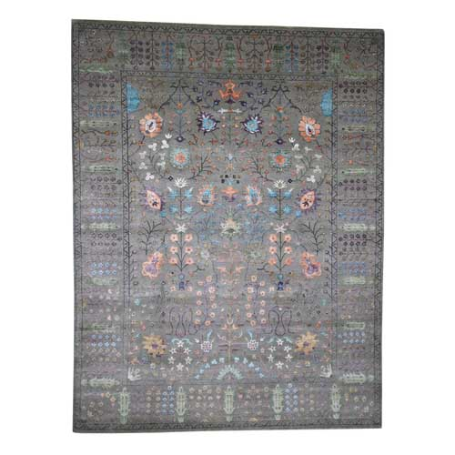 Arts and Crafts Design Hand-Knotted Wool and Silk Oriental