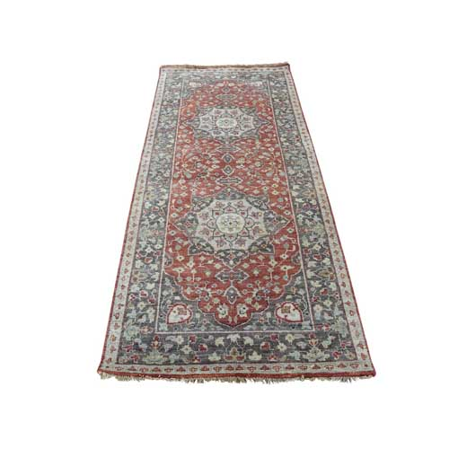 Hand-Knotted Antiqued Haji Jalili Re-Creation Runner Oriental