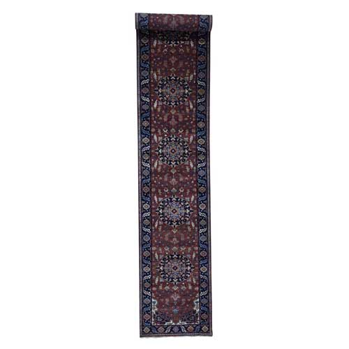 Antiqued Heriz Re-Creation Pure Wool Hand-Knotted XL Runner Oriental