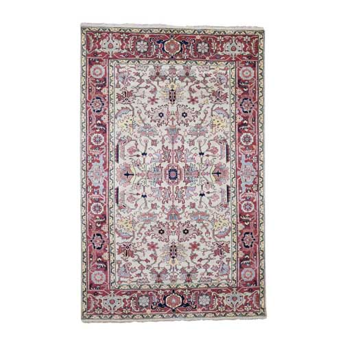 Antiqued Heriz All Over Design Pure Wool Hand-Knotted Oriental