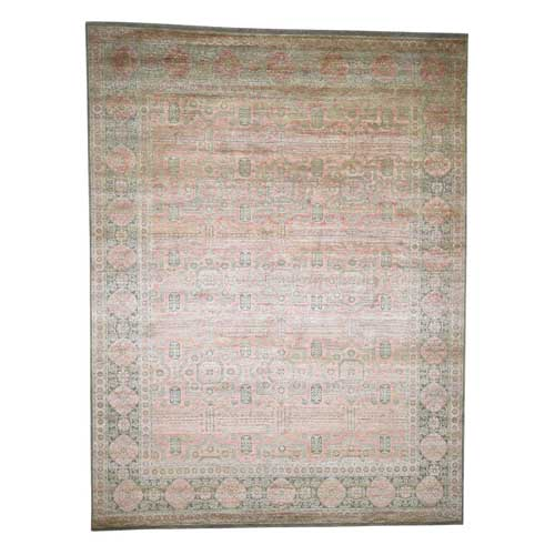 Mamluk With Shrimp Color, Silk Oxidized Wool Hand-Knotted Oriental