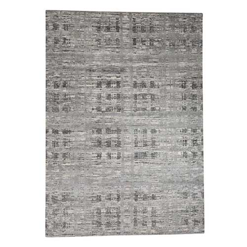 Hand-Knotted Undyed Natural Wool Modern Grey Oriental