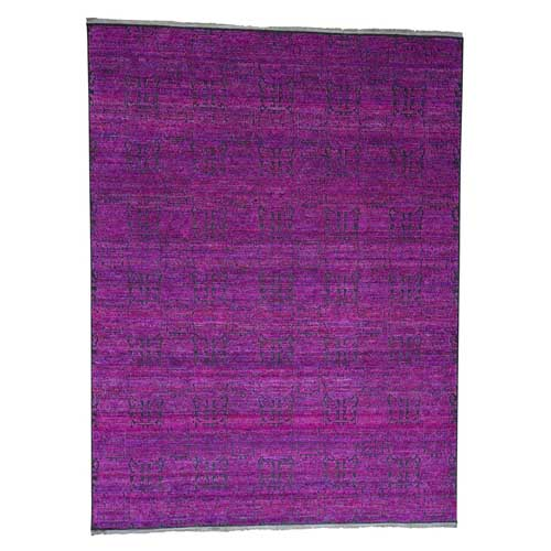Fuchsia Colors Sari Silk with Oxidized Wool Hand-Knotted Oriental