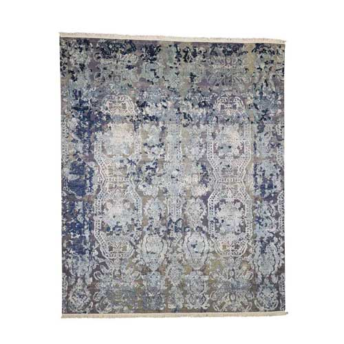 Hand-Knotted Silk With Oxidized Wool Transitional