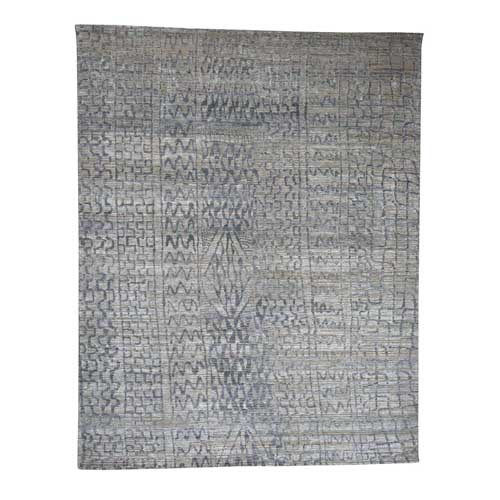 THE ERASED MOROCCAN Silk with Textured Wool Hand-Knotted Oriental