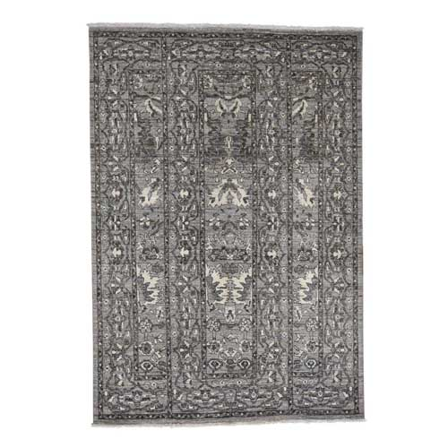 Hand-Knotted Natural Colors Mahal Design Grey Peshawar Oriental