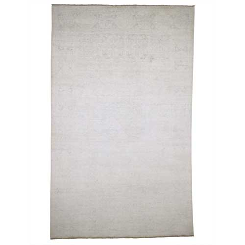 Hand-Knotted White Wash Peshawar Pure Wool Oriental