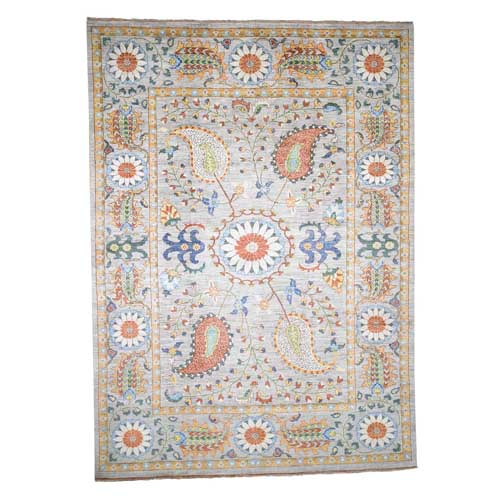 Peshawar with Suzani Design Pure Wool Hand-Knotted Oriental