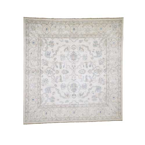 White Wash Peshawar Hand-Knotted Pure Wool Oriental Square