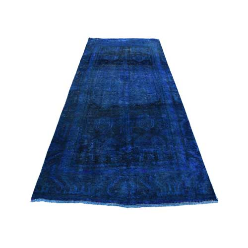 Overdyed Persian Hamadan Wide Runner Hand-Knotted Oriental