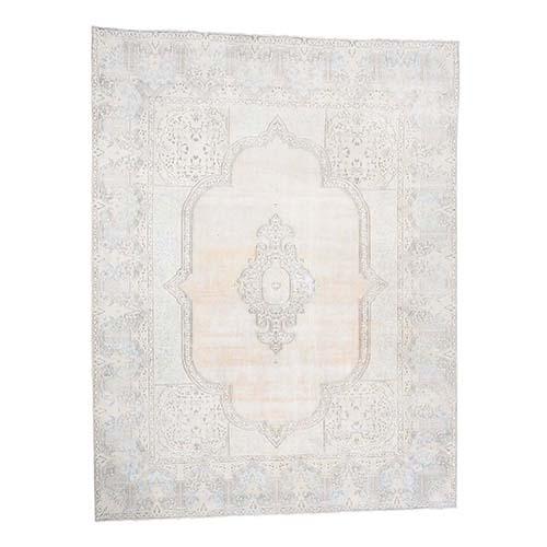 White Wash Vintage Kerman Sheared Low Hand-Knotted Oriental
