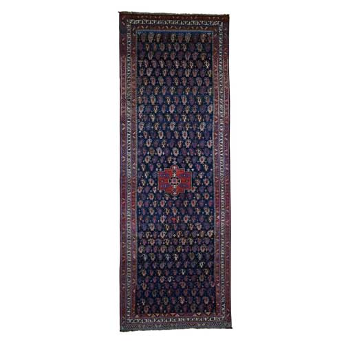 Hand-Knotted Antique Kurdish Bijar Full Pile Mint Cond Wide Runner