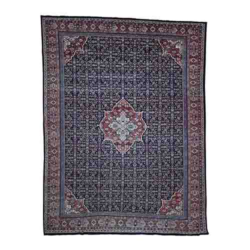 Antique Persian Mahal Even Wear Navy Blue Hand-Knotted Oriental