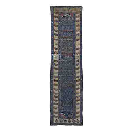 Antique Kurdish Bidjar Even Wear Paisley Design Hand-Knotted Runner Wide Runner Oriental