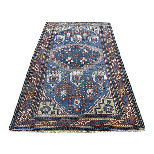 Antique Caucasian Kazak Even Wear Hand Knotted Oriental