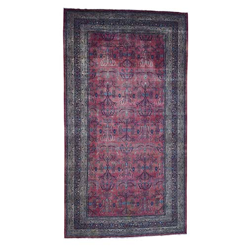 Antique Persian Kashan Gallary Size Even Wear Good Condition Hand-Knotted Oriental