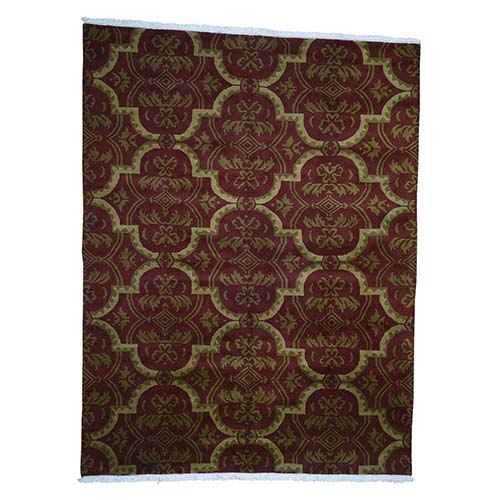 Pure Wool Burgundy Clearance Modern Nepali Hand-Knotted Oriental