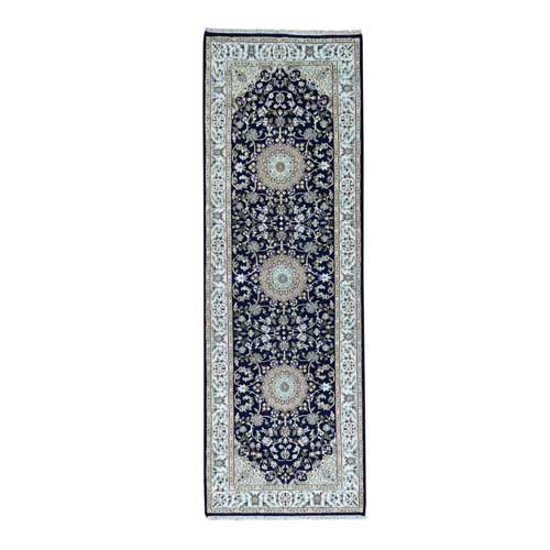 Wool and Silk 250 Kpsi Navy Blue Nain Hand-Knotted Oriental Runner Rug
