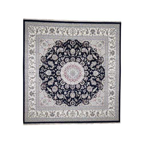 Wool and Silk 300 Kpsi Navy Blue Nain Hand-Knotted Oriental Square