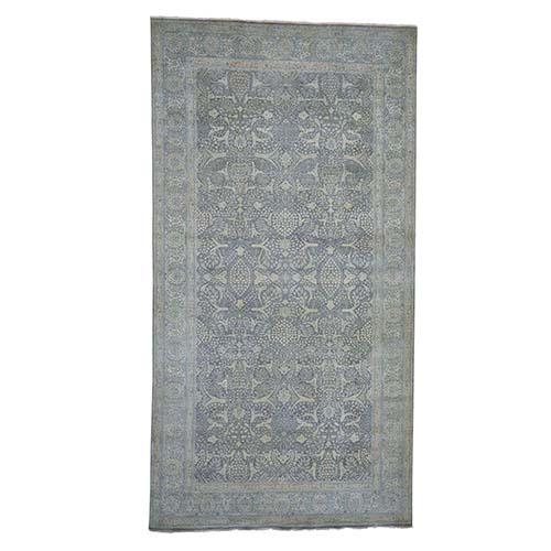 Gallery Size Distressed Tabriz Design 300 Kpsi Hand-knotted Oriental