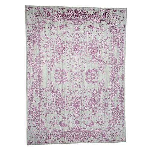 Wool and Silk Hand Loomed Pink Broken Persian Design