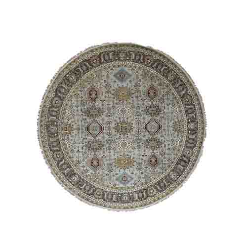 Hand-Knotted Silver Karajeh Design Pure Wool Round Oriental