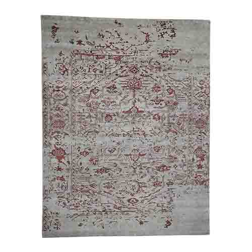 Broken Design Heriz Wool and Silk Oriental Rug Hand