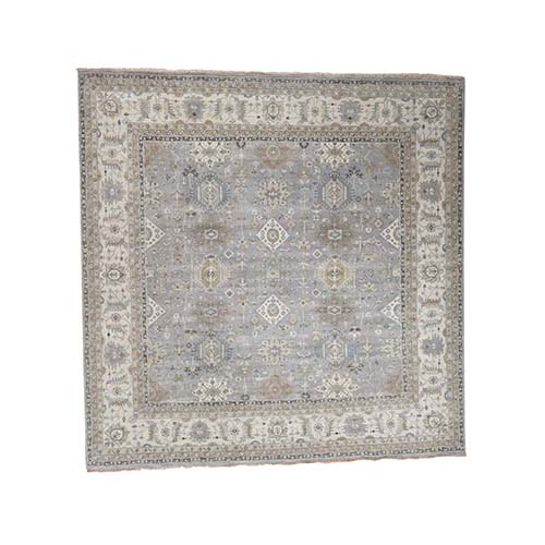 Hand-Knotted Karajeh Design Pure Wool Square Oriental