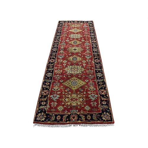 Red Karajeh Design Pure Wool Hand-Knotted Runner Oriental