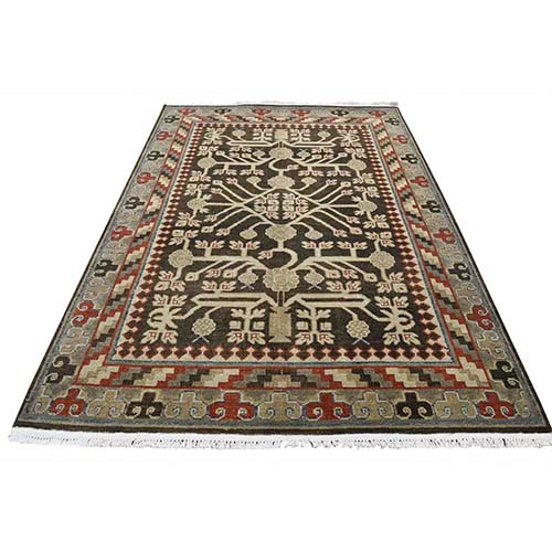 Distressed Khotan with Pomegranate Design Hand-Knotted Oriental
