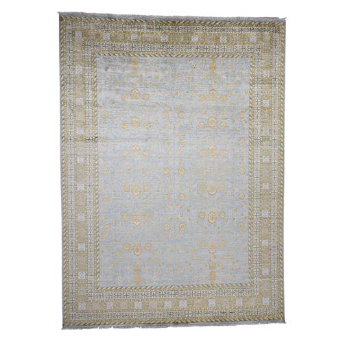 Pure Silk Light Blue Khotan Hand-Knotted Oriental