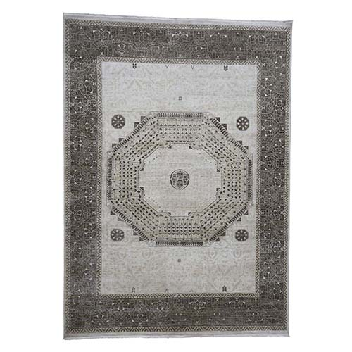 Vintage Look Mamluk Pure Silk With Oxidized Wool Hand-Knotted Oriental