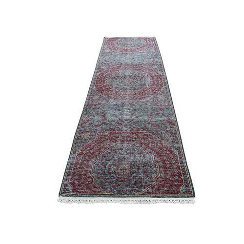 Vintage Look Mamluk Zero Pile Shaved Low Worn Wool Runner