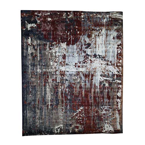 Hand-Knotted Wool And Silk Abstract Design Modern