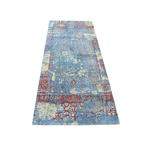 Hand-Knotted Silk With Oxidized Wool Broken Design Runner