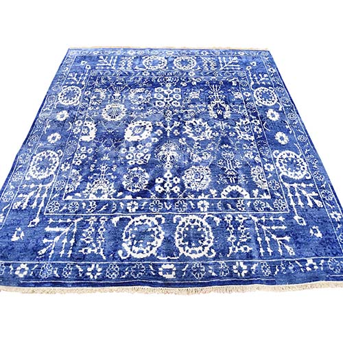 Hand-Knotted Wool and Silk Tone on Tone Square Tabriz Oriental Rug
