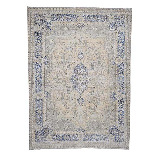 Pure Wool White Wash Kerman With Paisley Design Hand-Knotted Worn Oriental