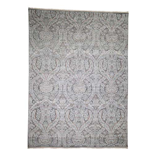 Pure Silk With Oxidized Wool Vaze Design Hand-Knotted Oriental