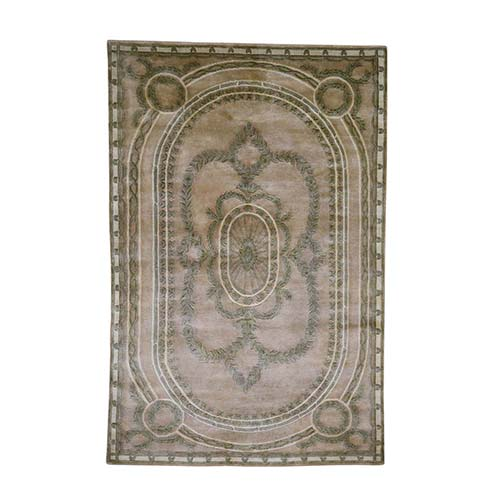 European Aubusson Thick And Plush Nepali Hand-Knotted Oriental Rug