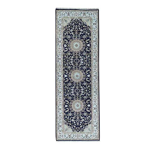 Hand-Knotted Runner 250 KPSI Nain Navy Blue Wool and Silk Rug