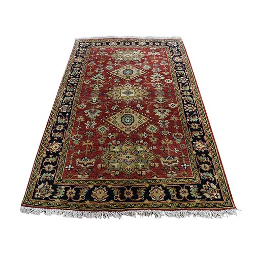 Red Karajeh Design Pure Wool Hand-Knotted Oriental